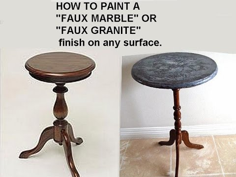 DIY FAUX FINISH, PAINTED FAUX GRANITE, FAUX MARBLE, QUICK EASY METHOD