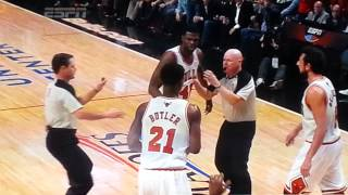 Nazr Mohammed pushes Lebron James and gets EJECTED game 3 playoffs 2013