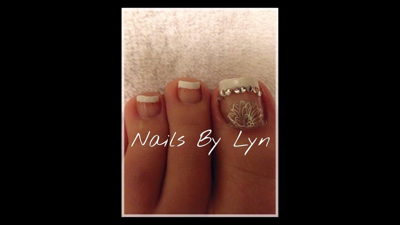 Easy Toenail Art French With Gems Youtube