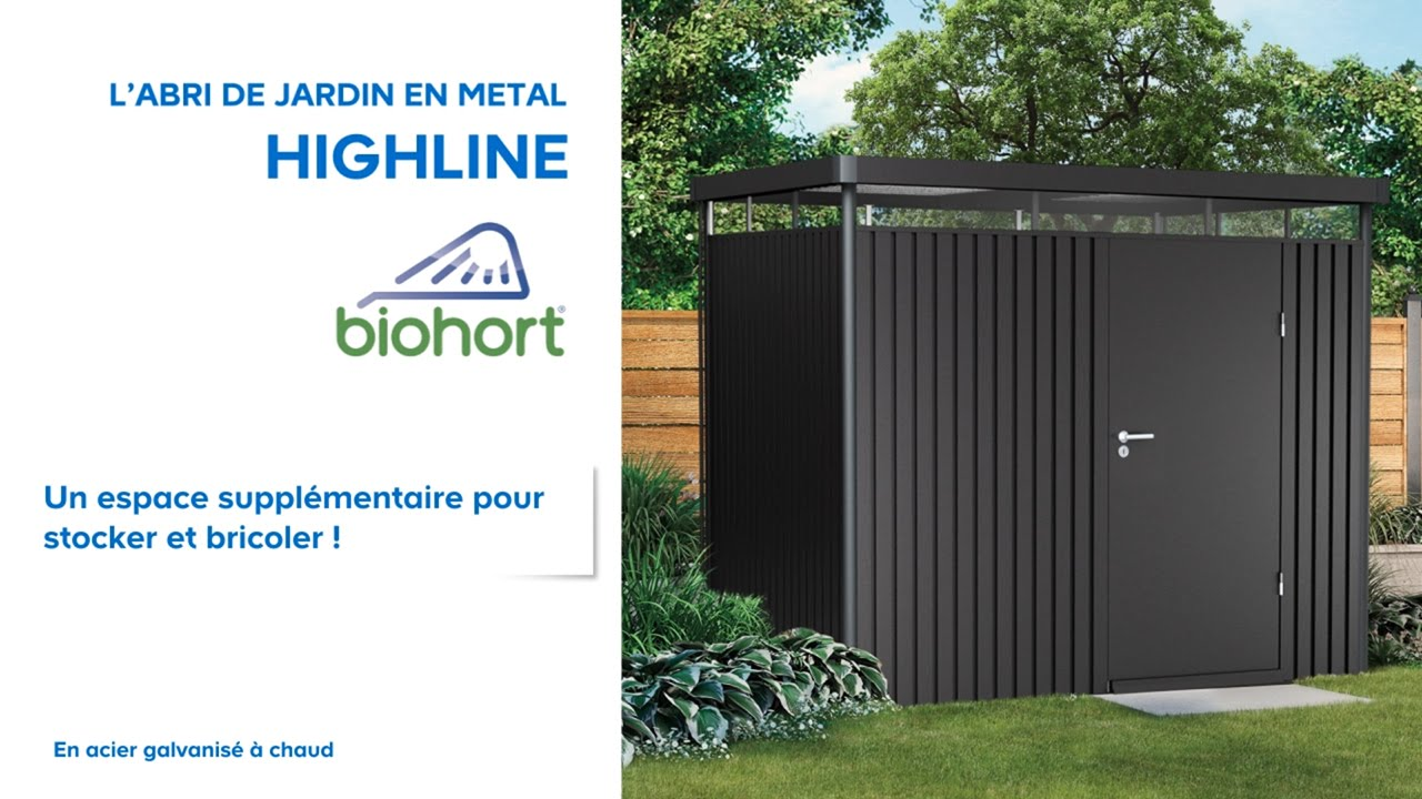 Abri de jardin m tal high line biohort 638047 castorama for Portillon jardin metal