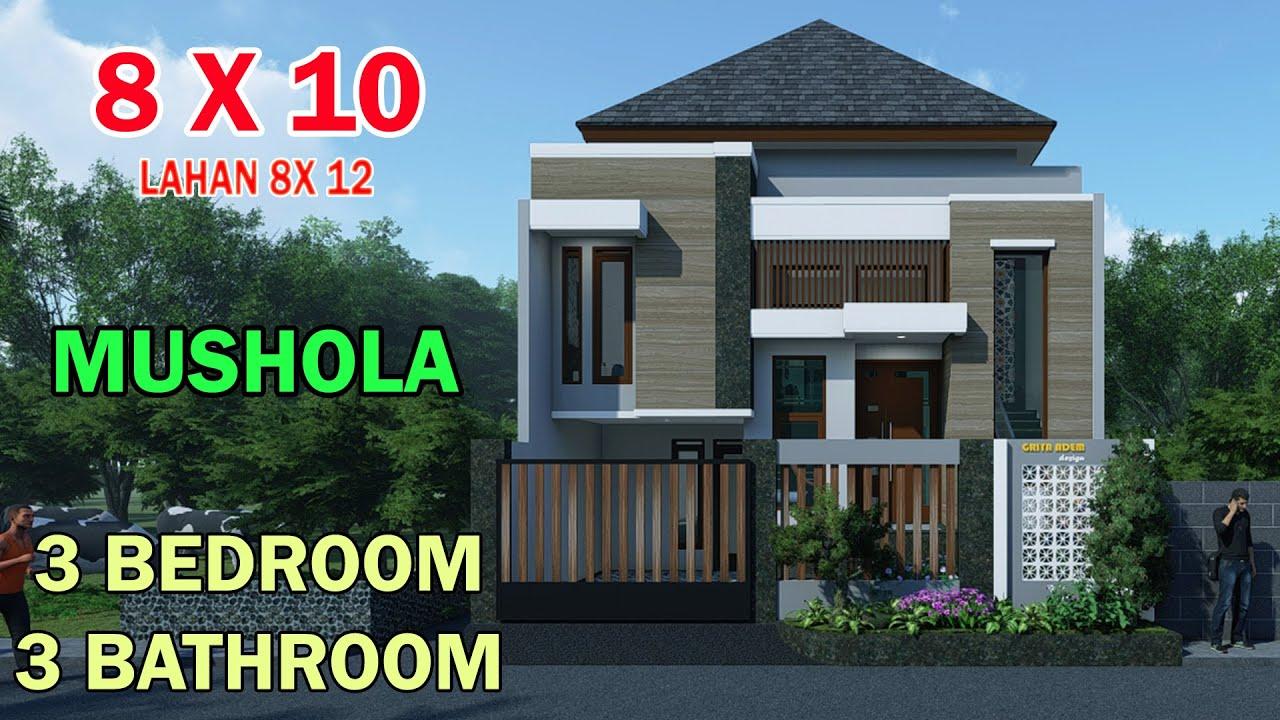 Modern Minimalist House Split Level 1 5 Floors 8x10 Meters 3 Bedroom 4 Bathroom Work Room Musholla