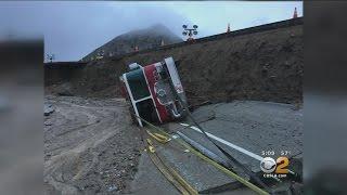 San Bernardino Fire Truck Rolls Off Cajon Pass When Road Gives Way
