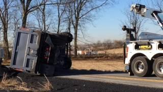 Dump truck rollover in Forks
