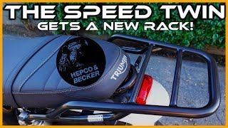 Triumph Speed Twin Accessories   Hebco and Becker rear rack install
