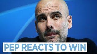 Pep guardiola reacts to man city v ...