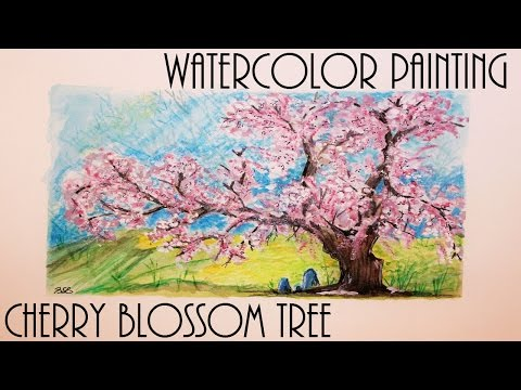 Quick Watercolor Painting: Cherry Blossom Tree