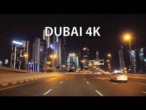 Dubai 4K - Skyscraper District - Night Drive