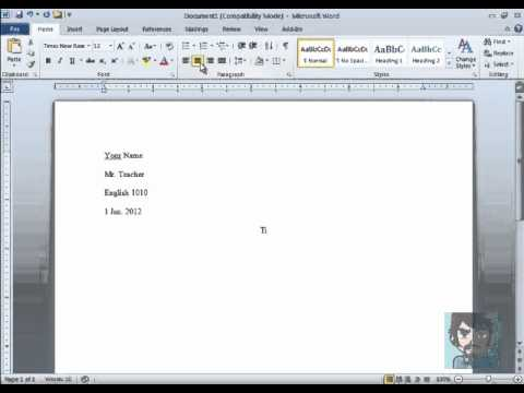How to set up your paper in MLA format using Microsoft Word 2010
