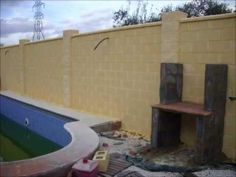Construcci n de valla de bloque formaci n de jardinera y colocaci n de piedra natural youtube - Piedras para construccion ...