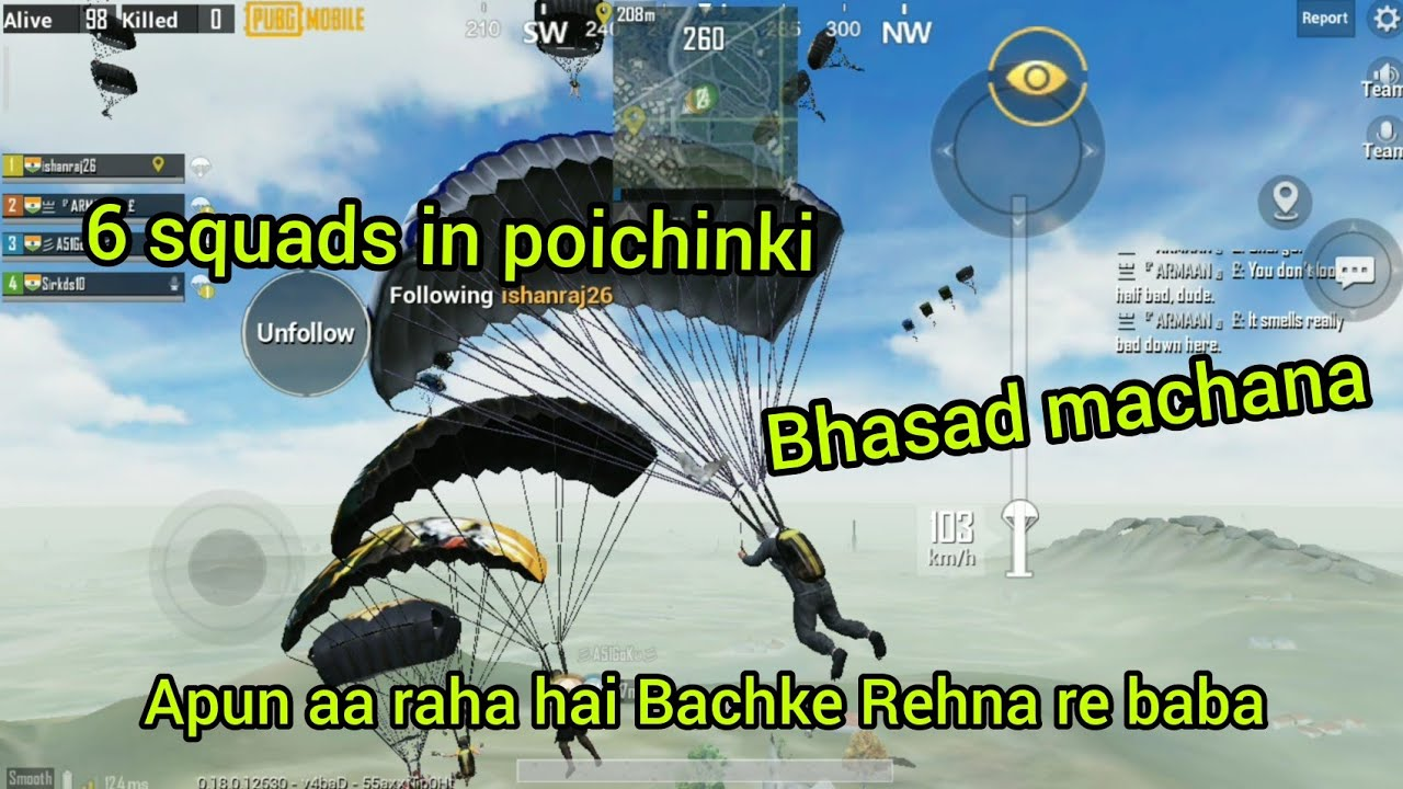 6 squads in poichinki full bhasad gameplay moment with unknown player