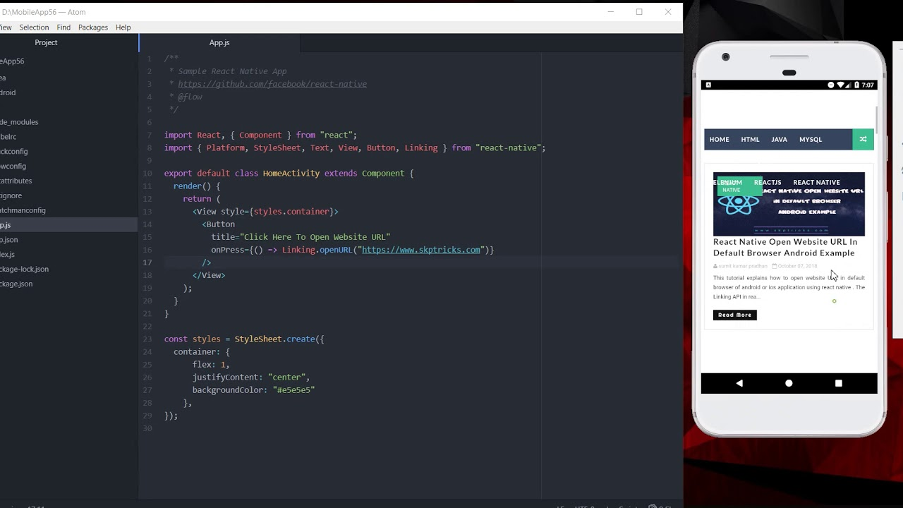 React Native open website URL in default browser Android Example
