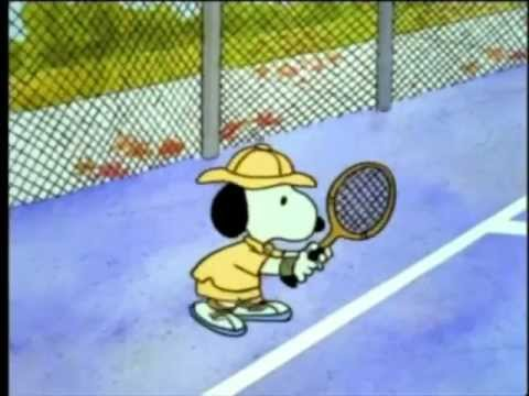 snoopy playing tennis