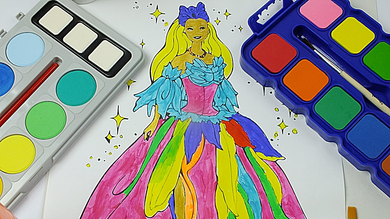 Educational coloring pages princess - Princess Barbie Best Watercolor Painting Coloring Pages For Preschool Kids Educational For Kid