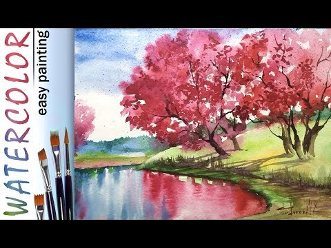 "How to paint LANDSCAPE ""Spring""! Blooming trees, reflection! Watercolor painting for beginners! EASY"