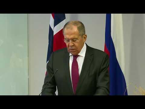 Пресс-конференция С.Лаврова и И.М.Эриксен Сёрэйде, Киркенес, 25 октября 2019 года