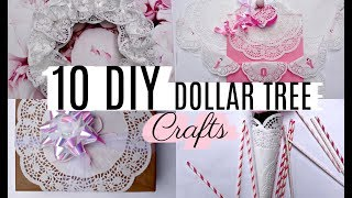10 DIY DOLLAR TREE DOILY CRAFTS 🎁 WREATH, GARLAND, BOTTLE etc..