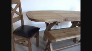 1.3 - 1.8m X Leg Oval Country Oak Dining Table
