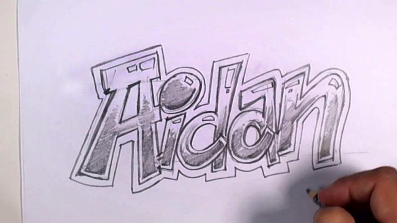 Graffiti Writing Aidan Name Design 35 In 50 Names Promotion Mat