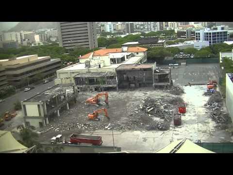 July 1, 2013 Time Lapse - Honolulu Advertiser building demolition. Honolulu, Hawaii