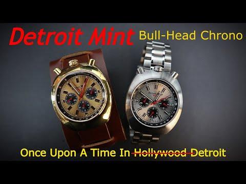 Detroit Mint Mach Bull-Head Chronograph Citizen Tsuno Bullhead Chrono Homage Brad Pitt Watch