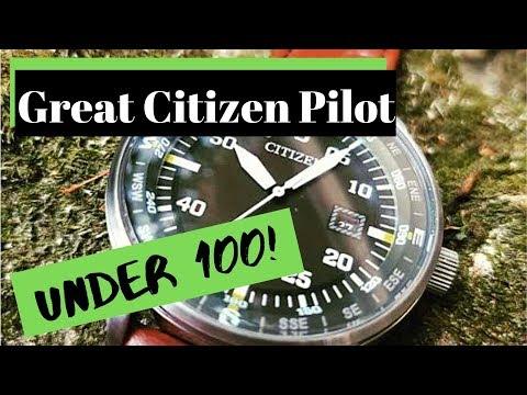 Citizen BM7390-22X Green Pilot Watch Under $100! Killer Looks! Eco Drive 180 Day Reserve