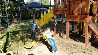 Bennett & Bentley Playing on Swingset