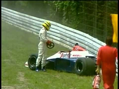 HD Ayrton Senna heavy crash Hockenheim 1984, Grand Prix of Germany LIVE BBC COMMENTARY