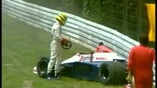 HD Ayrton Senna heavy crash Hockenheim 1984, Grand Prix of Germany LIVE BBC COMMENTARY