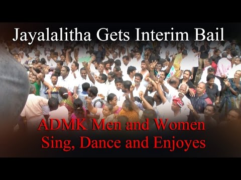 Jayalalitha Gets Interim Bail - ADMK Men and Women  Sing, Dance and Enjoyes | RedPix 24x7 #jayalalithabail #jayalalithainjail #highcourt #bangalorecourt #admknews #jayalalithainjail #bailresult  The Supreme Court on Friday suspended AIADMK chief J Jayalalithaa's sentence for two months and granted her interim bail on the condition that she will make available all documents and translated copies available to Karnataka HC for speedy adjudication of her appeal against conviction.   The apex court said that if the complete set of documents was not made available to the high court by December 18, then the AIADMK will go back to jail.   The top court also said AIADMK party members must immediately desist from personal criticism of the trial judge and stop indulging in violence.  Alongwith Jayalalithaa, her aide Sasikala and two others have also been granted bail.   The SC asked Jayalalithaa, Sasikala and Sudhakaran to furnish two solvent sureties to the satisfaction of the trial judge before getting released on bail.  The Supreme Court on Friday granted interim bail to AIADMK chief J Jayalalithaa, undergoing jail term of four years for amassing disproportionate assets. 1. Jayalalithaa got SC relief after giving assurance that she won't take any adjournment in HC and will file paperbook of her appeal within 2 months.