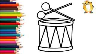 Раскраска для детей БАРАБАН. Мультик - Раскраска. Учим цвета.