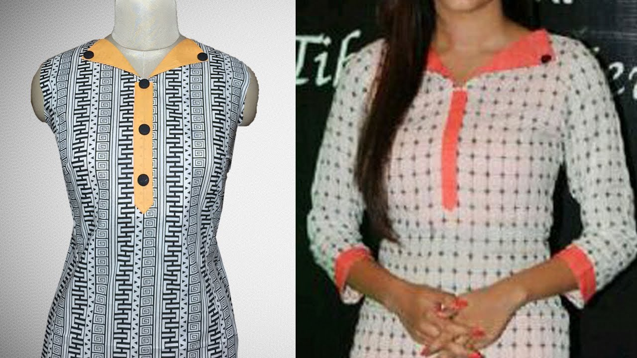 c95240b6 Kurti Collar Neck Design Cutting and Stitching - YouTube