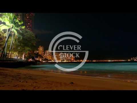 Illuminated Buildings Sea Coastline Footage Travel Vacation Tourism Honolulu Waikiki Beach Hawaii