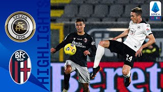 Spezia took a 2-0 lead thanks to an nzola double but bologna fought back 2-2 final with goals from nicolás domínguez and musa barrow   serie timthis is ...