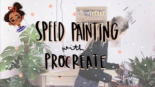 SPEED PAINTING WITH PROCREATE 002! | sketching on paper and little dog breaks