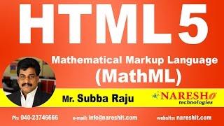 Mathematical Markup Language (MathML)   Web Technologies Tutorial   Mr. Subba Raju