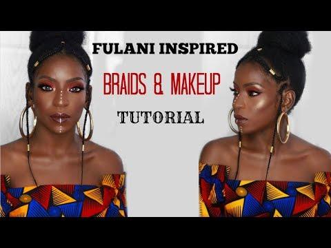 FULANI  INSPIRED BRAIDS & MAKEUP TUTORIAL