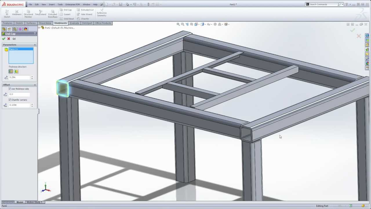 Solidworks Weldments 101 Simple Table Youtube