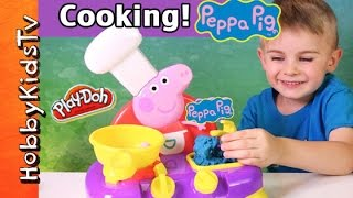 Peppa Pig Cooking Kitchen Toy Set! Musical Dancing Chef + Cheeseburger HobbyKidsTV