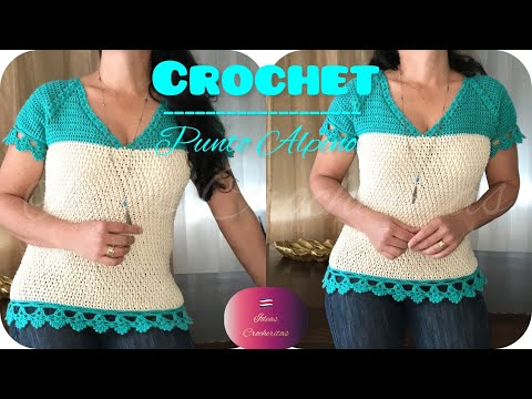 DIY👚Blusa cuello en V tejida a Crochet V-neck blouse/all size/punto fantasía elá
