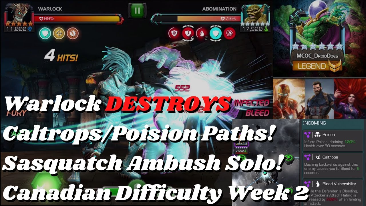 Warlock DESTROYS Caltrops/Poision Paths! Sasquatch Ambush Solo! Canadian Difficulty Week 2 - MCOC
