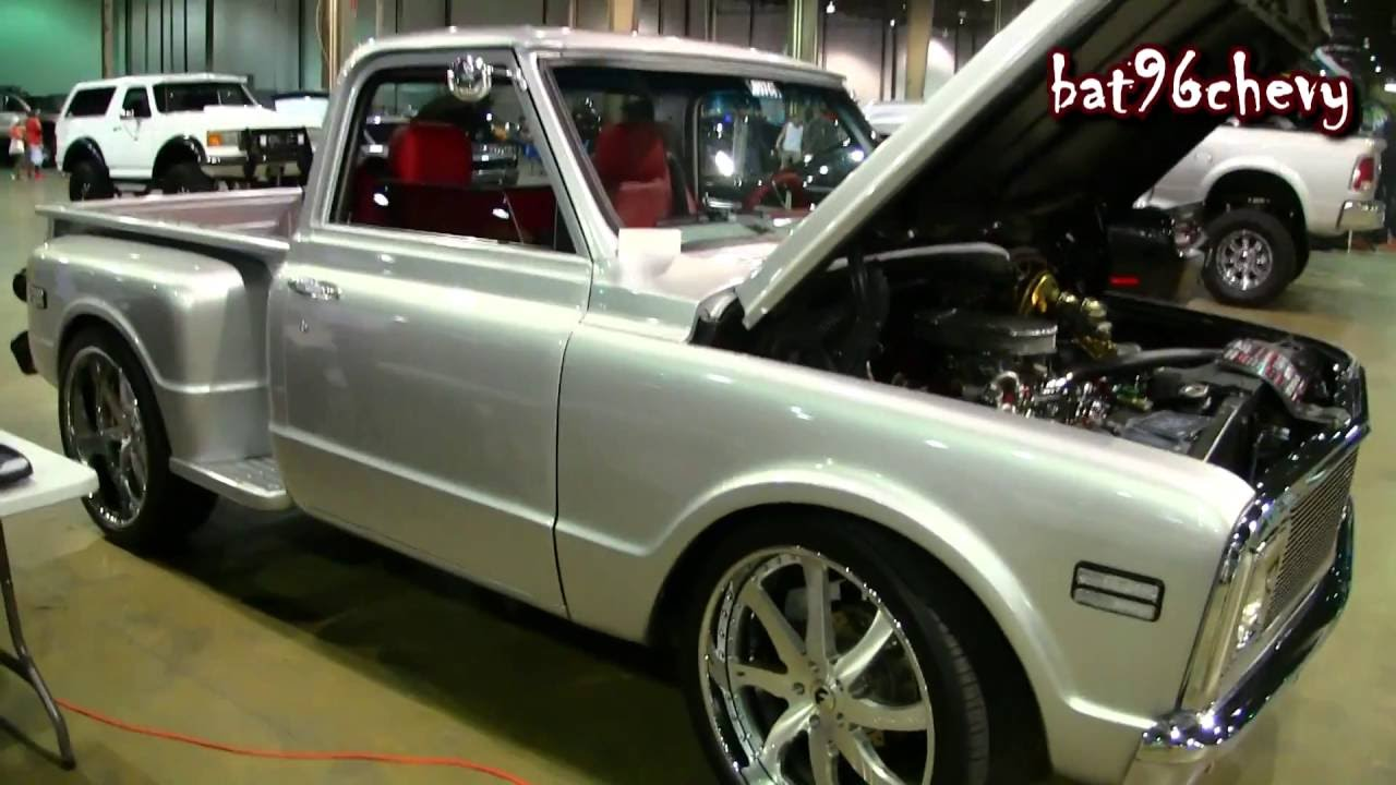Silver 72 Chevy C 10 Stepside Pickup Truck On 24 Forgiatos 1080p 1968 C10 Hd