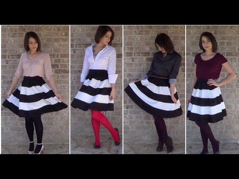 Winter Lookbook: Black and White Striped Skirt