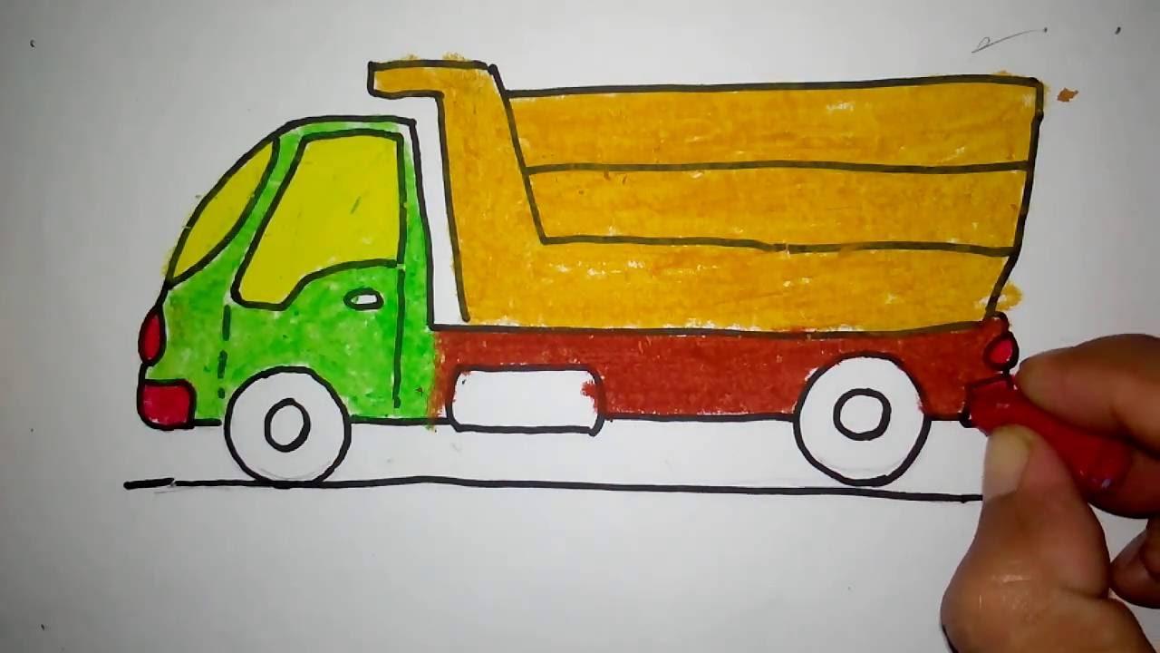 cara menggambar truk pasir untuk anak