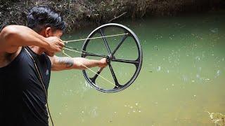 How To Make Powerful Wheel Slingshot | Powerful Wheel Slingshot VS Huge Fish
