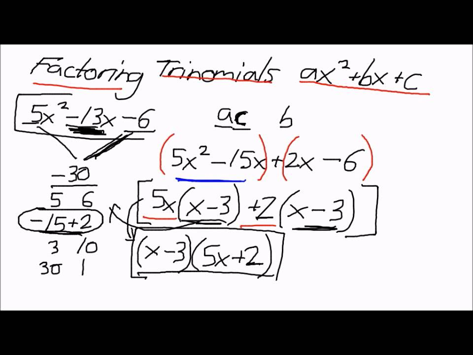 Factoring Trinomials of the form ax^2+bx+c (AC Method) - YouTube