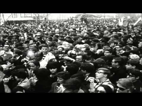 The anti war protests against the United States involvement in the Vietnam War. HD Stock Footage