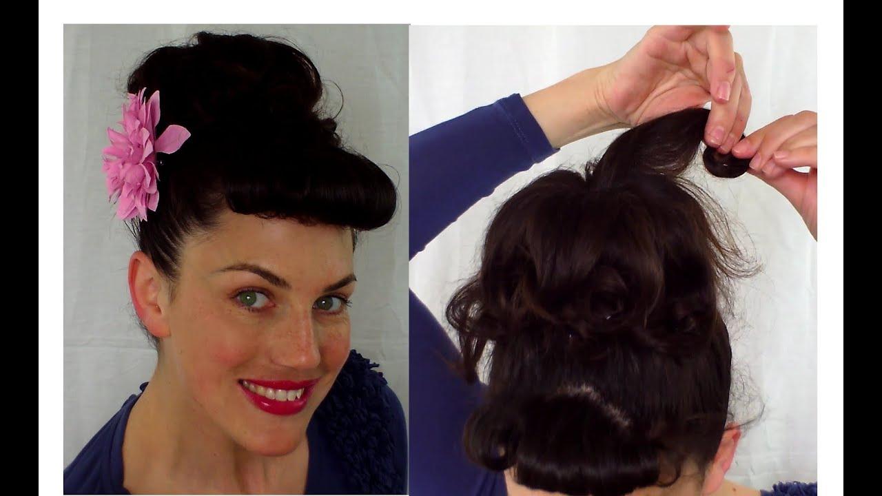 EASY PIN UP inspired Pin curl Bernie Dexter BUN tutorial vintage