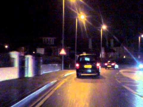 Ayr (The Sandgate) To Prestwick Airport, Ayrshire, Scotland At Night.(21dec2011).