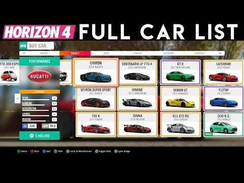 Forza Horizon 4 - All Cars + DLC | List