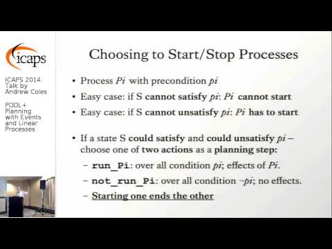 "ICAPS 2014: Andrew Coles on ""PDDL+ Planning with Events and Linear Processes"""